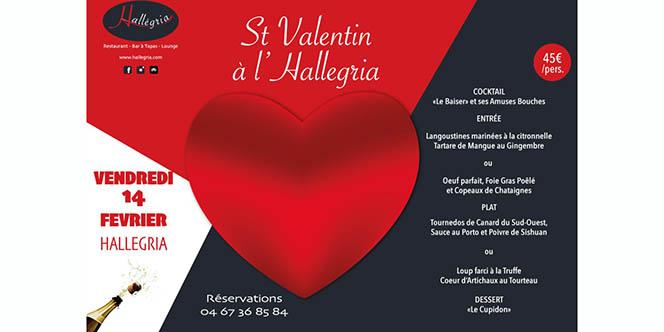 Hallegria Béziers annonce son Menu Saint Valentin à découvrir au restaurant en centre-ville.